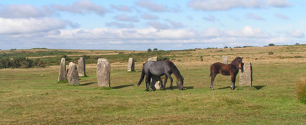 The prehistoric stone circle (The Hurlers) near Minions on Bodmin Moor
